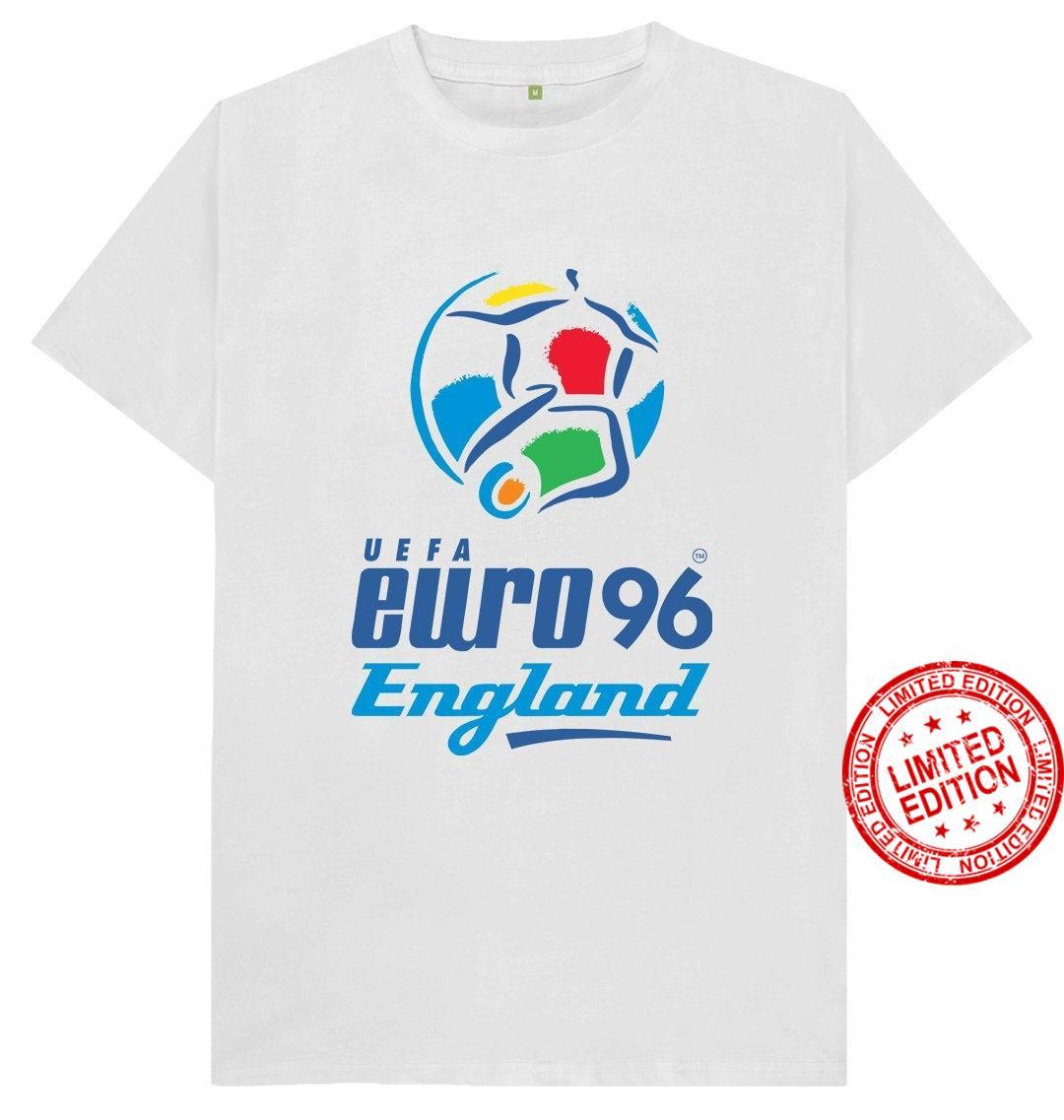 Euro 96 Logo England Football Retro Sport Iconic England Euros Gazza Shearer Southgate Shirt