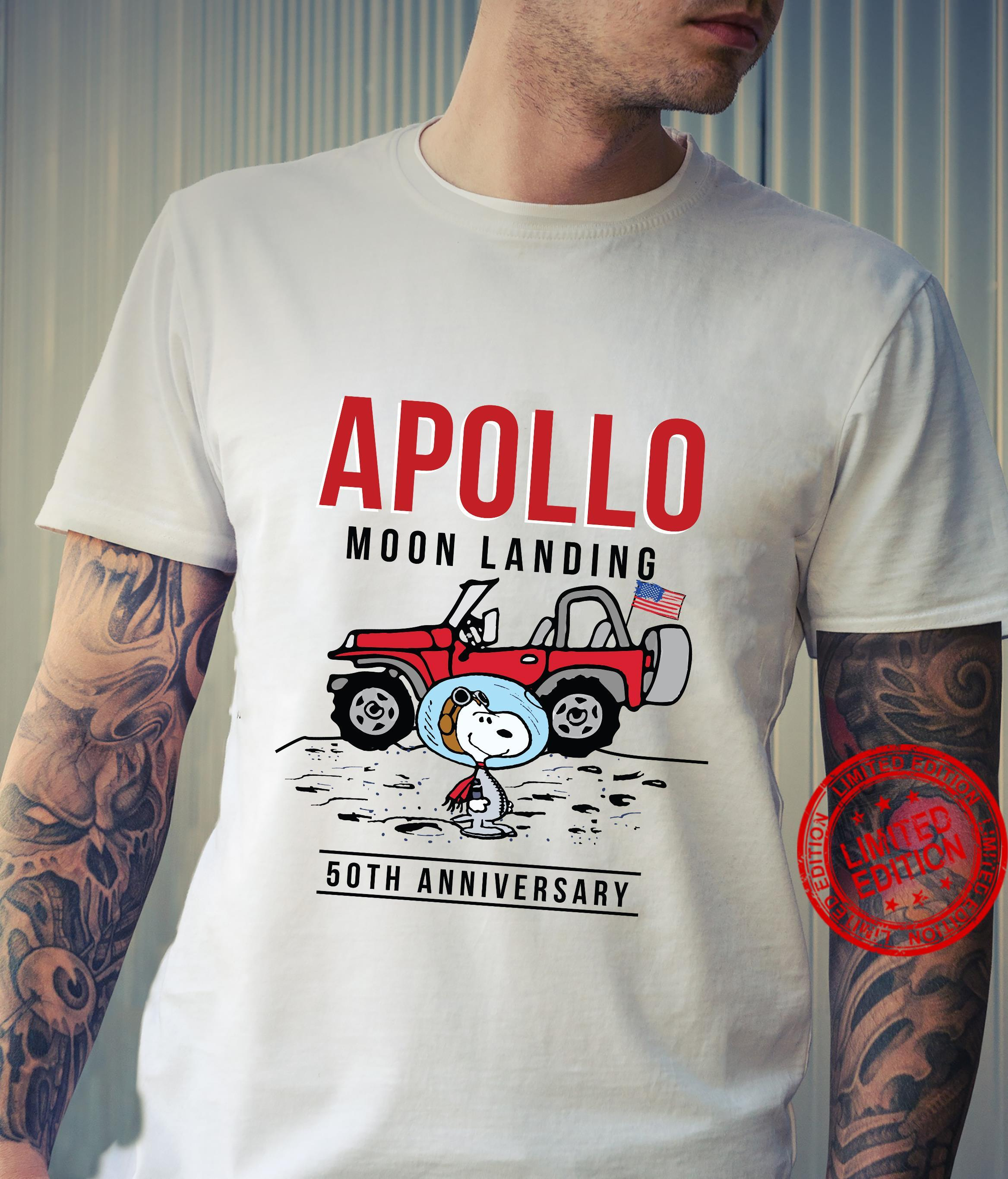 Snoopy and Jeep Apollo Moon Landing 50th Anniversary shirt