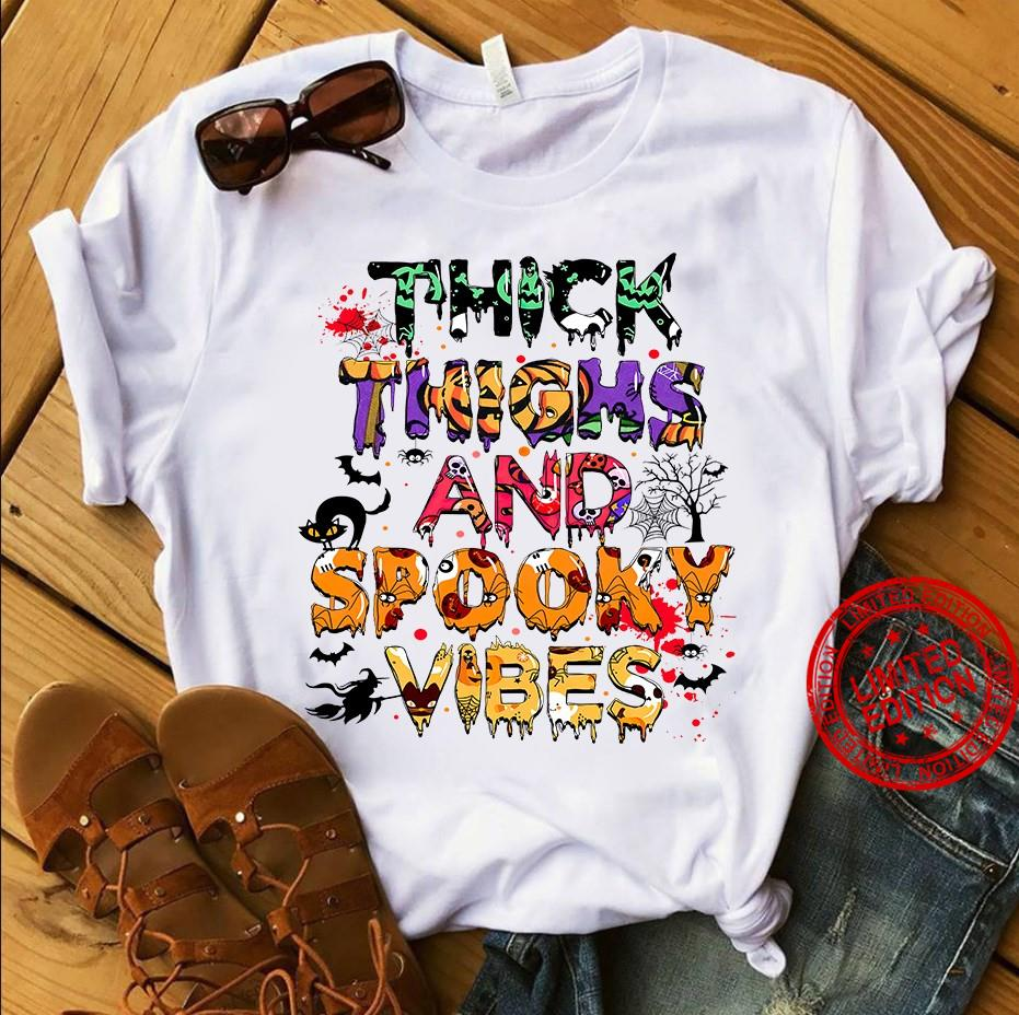 Thick Thighs And Spooky Vibes Happy Halloween Shirt