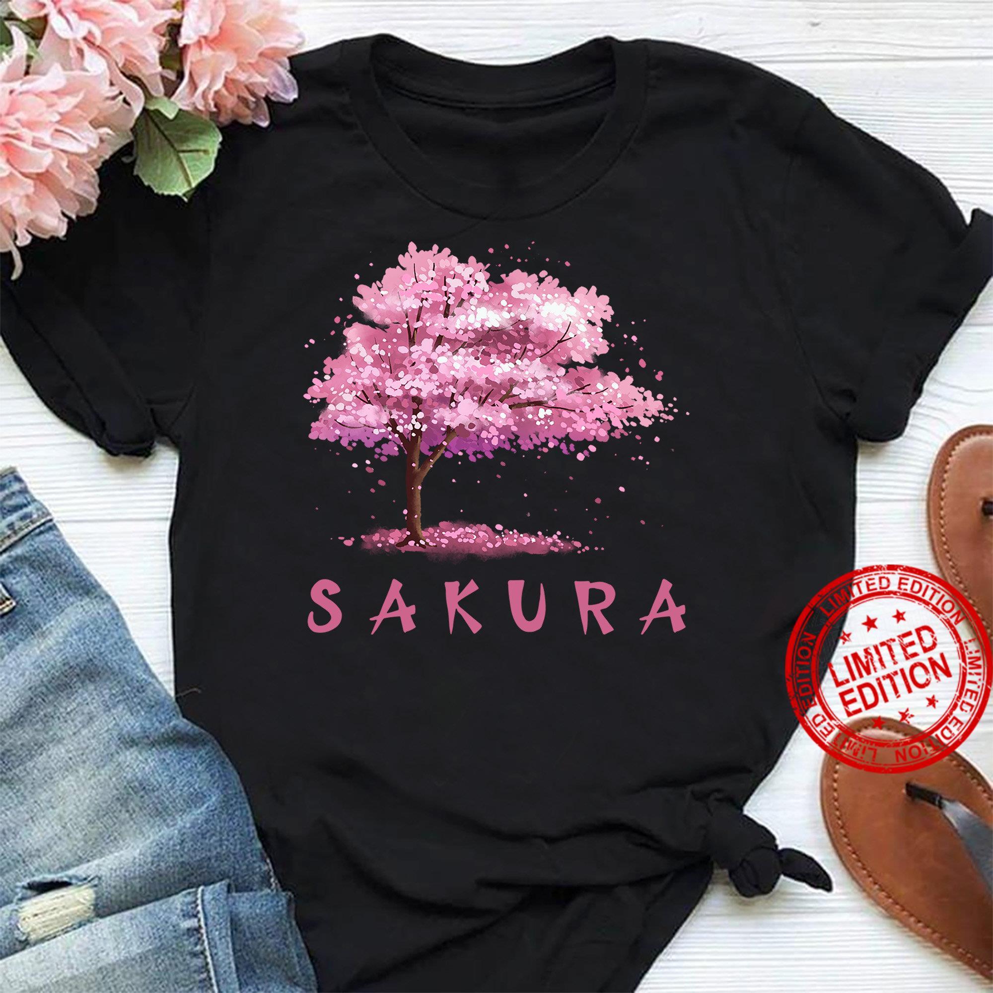 Vintage Japanese Cherry Blossom Tree Sakura Watercolor Art Shirt