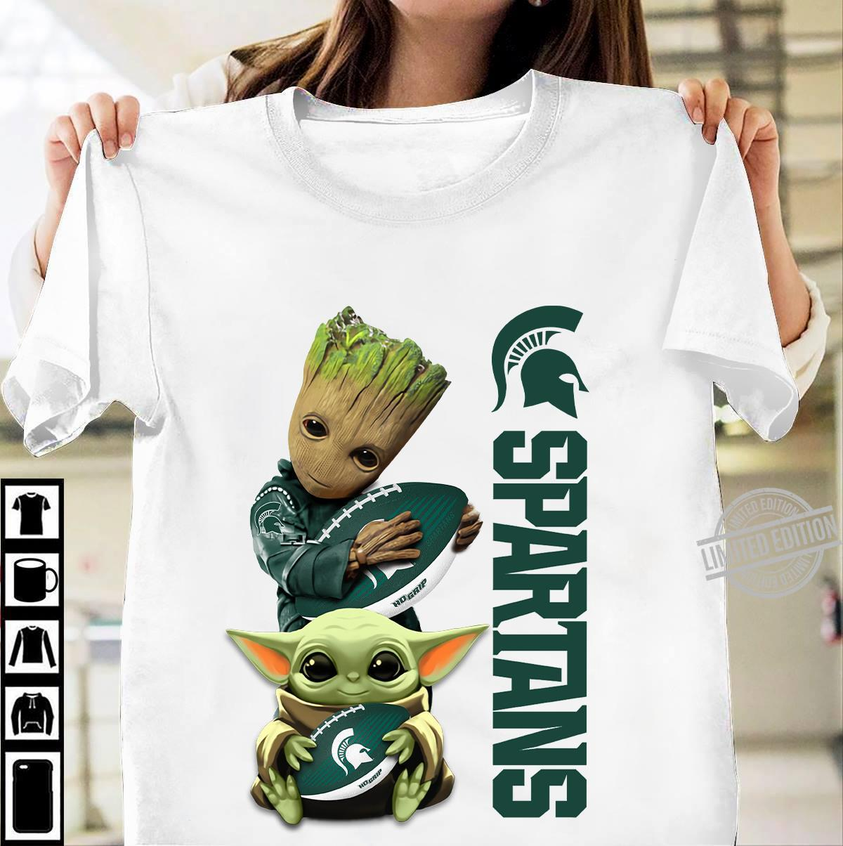 Baby Groot And Baby Yoda Friends Spartans Shirt