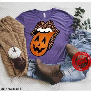 Leopard Mouth And Pumpkin Tongue Happy Halloween Shirt