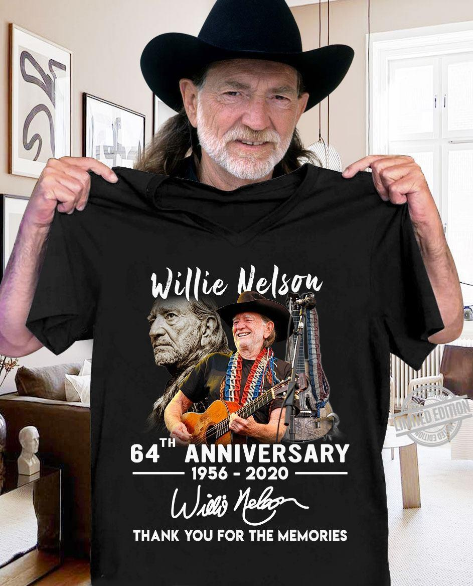Willie Nelson 64th Anniversary 1956-2020 Thank You For The Memories Shirt